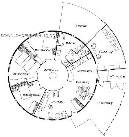 Round house cabin plans blueprints pdf construction lake Circle house plans