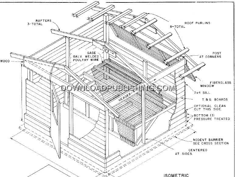 Chicken Coop Layer Barn 10x10 50 Hens Gableroof Blueprints